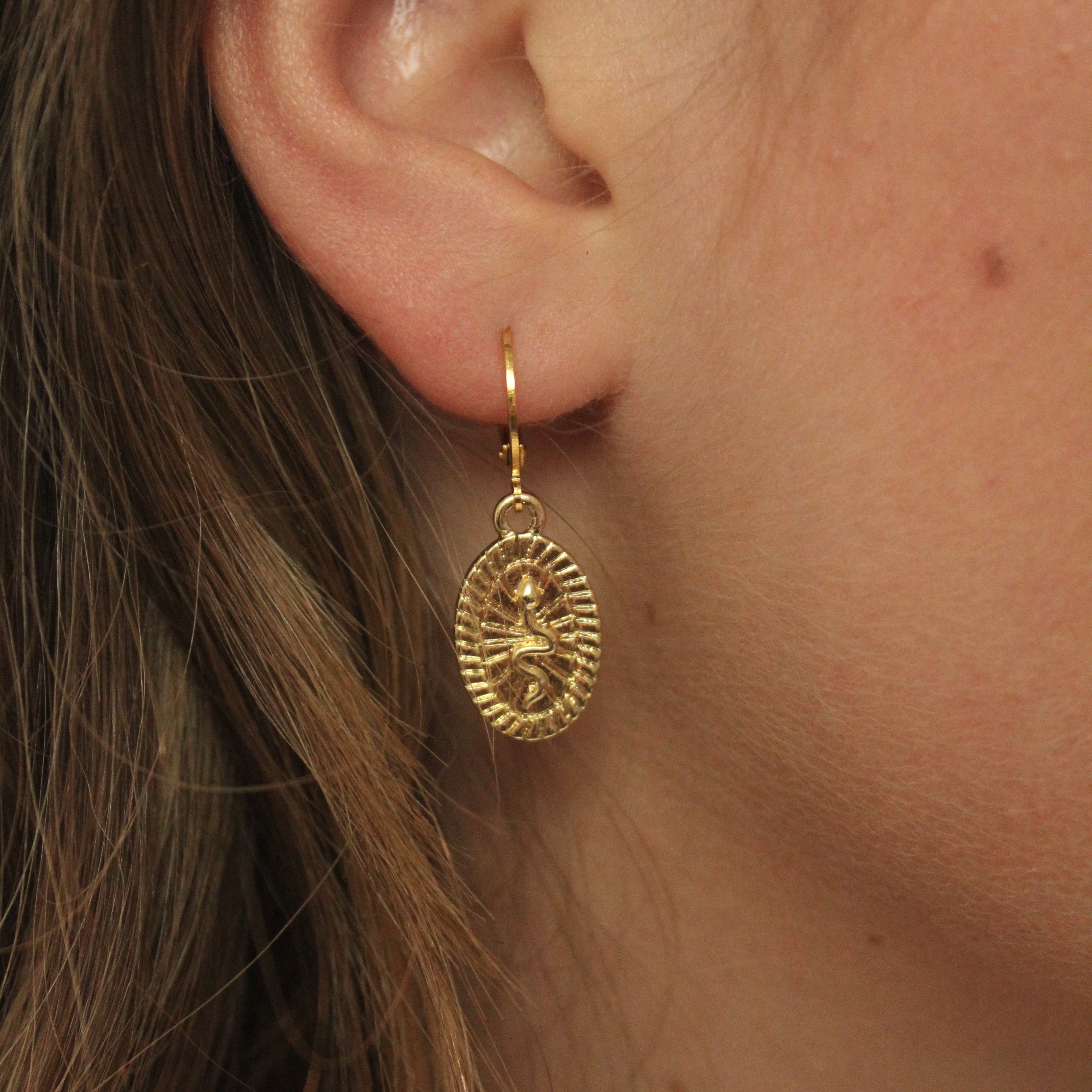 Snake tag hoops gold