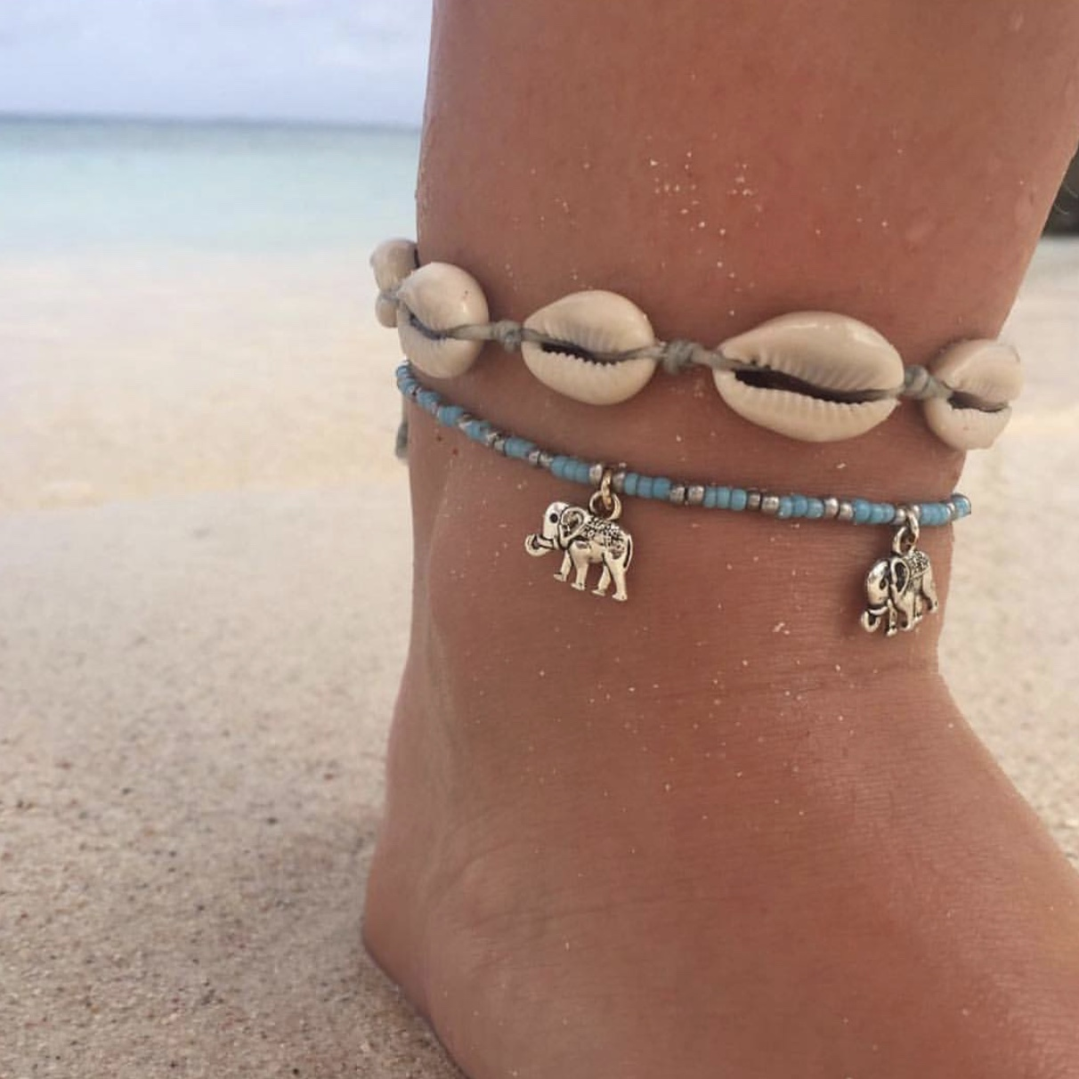 Elephant anklet silver