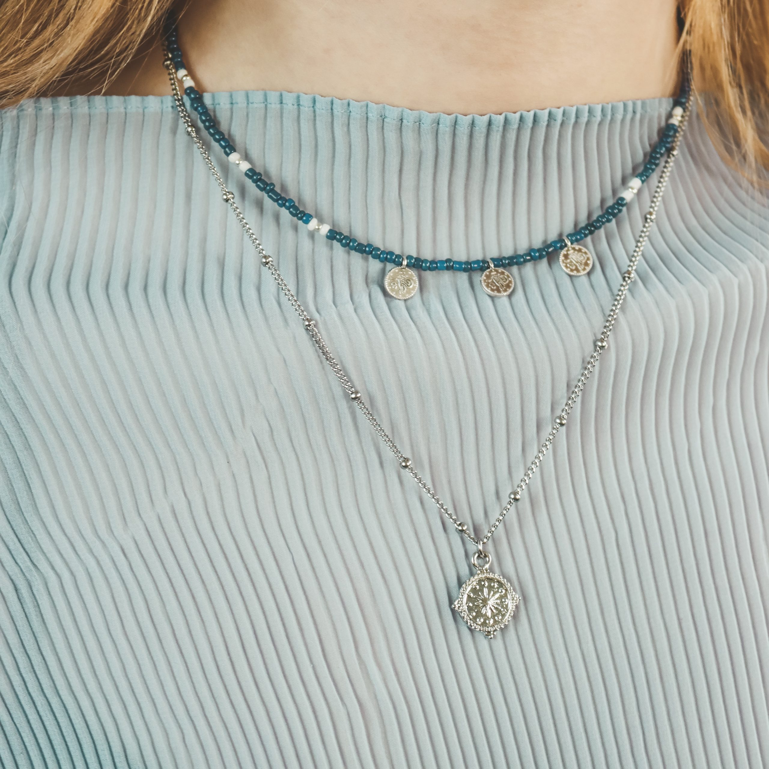 3 silver coins necklace